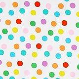 Fabulous Fabrics Baumwoll Popeline Bunte Punkte - Weiss -