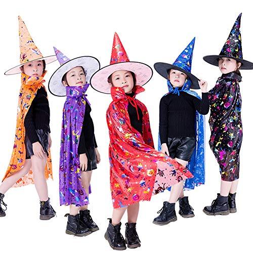 Kostüm Reversible Blue - CYYMY Kinder Halloween Umhang Cape Lang Mantel Cosplay Kostüm Karneval Fasching Kürbis Party Ostern Weihnachten Hexenhut 75cm,Blau