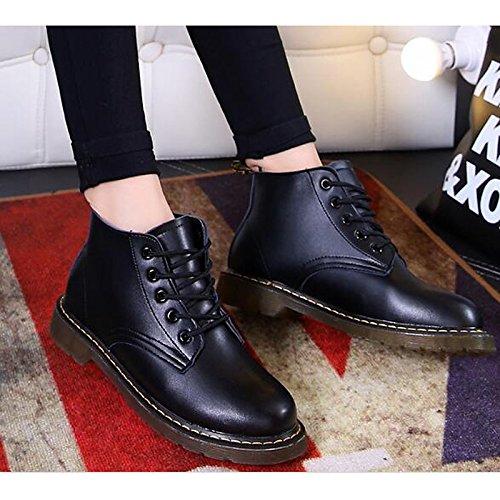 HSXZ Scarpe donna vera pelle caduta molla Comfort Bootie scarpe tacco Chunky Babbucce/stivaletti di abbigliamento casual Borgogna rosso e nero Burgundy