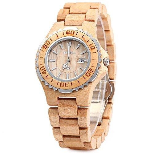 Bewell ZS-100BL Holz Armbanduhr, Naturholz Material mit Datumsanzeige Analog Quarz Uhr Geschenk für Frauen (Maple Wood) (Mit Datumsanzeige Damen-uhren)