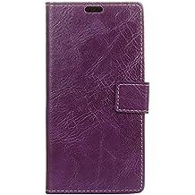 BQ Aquarius E5 Funda, Lifetrut [Flip Wallet fondos] PU de lujo de cuero magnético cartera de la cartera de protección para el BQ Aquarius E5 [púrpura]