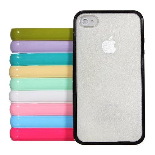 Disque mat givrŽ incolore Dos TPU Bumper Case Frame pour iPhone 4 4S jaune
