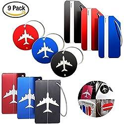 YuCool - Lot de 9étiquettes de bagage en aluminium - Parfaites pour les voyages - Conviennent aux bagages, sacs, valises