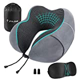 FYLINA Memory Foam Travel Pillow with Carry Case, Eye Mask and Ear Plugs