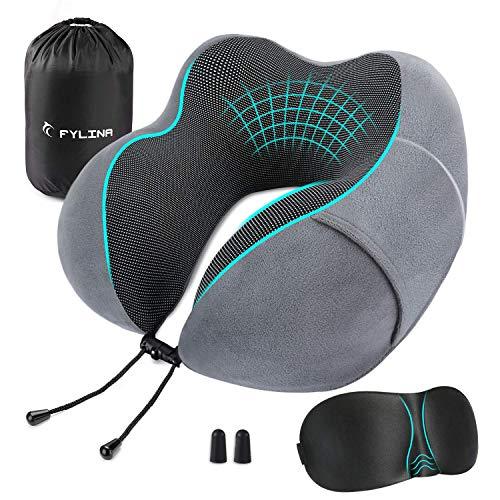 Cuscino da viaggio memory foam FYLINACuscino Cervicale da Viaggiomascherina e tappi per orecchiecomodo cuscino portatile collo testa cuscino di