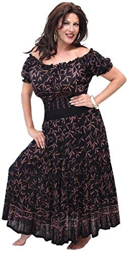 LOTUSTRADERS Damen Batik Boho Kleid Schwarz Bernstein