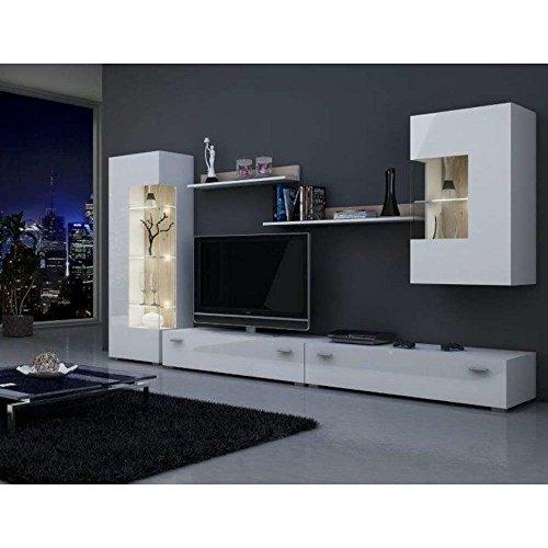 JUSThome CLASSIC Wohnwand Anbauwand Schrankwand (HxBxT): 146x280x42 cm Weiß Matt / Weiß Hochglanz