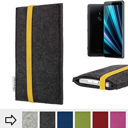 flat.design Handytasche Coimbra mit gelben Gummiband-Verschluss für Sony Xperia XZ3 - Schutz Case Etui Filz Made in Germany in anthrazit gelb - passgenaue Handy Hülle für Sony Xperia XZ3