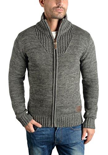 SOLID Herren Pomeroy Strickjacke Cardigan mit Stehkragen aus 100% Baumwolle Dark Grey (2890)