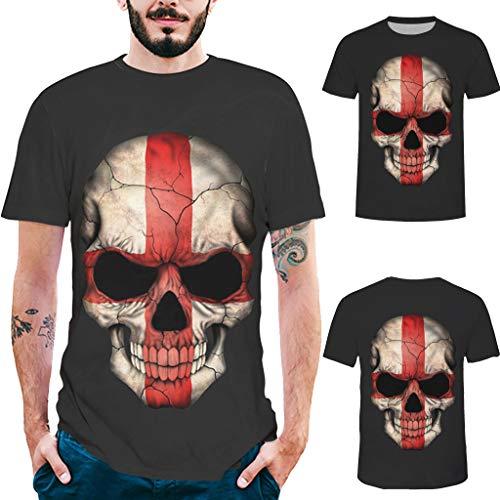 ODRD Herren T-Shirts Männer Mode Herren Splash-Tinte 3D Druck Schädel Shirt Kurzarm T-Shirt Bluse Tops Hemden Tee Shirts Tops Tank Top Shirt Sport