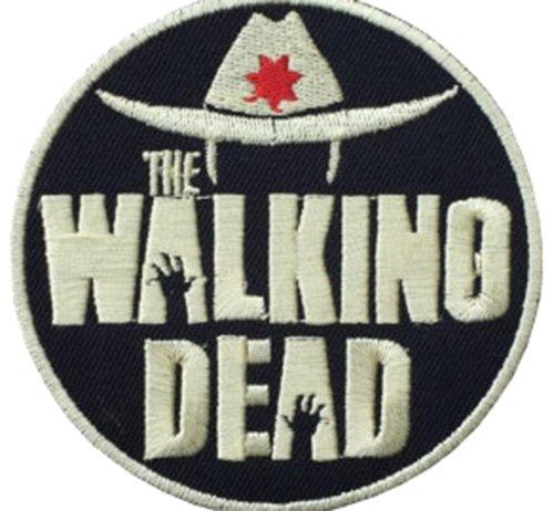 Walking Dead Hat Silber & Schwarz Bestickt Abzeichen -