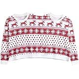 HDLRBZZ Christmas Blusen Bedruckt Flauschig Langarm Weihnachten Sweatshirt Pullover Flauschig Onesies (Rot, 44)
