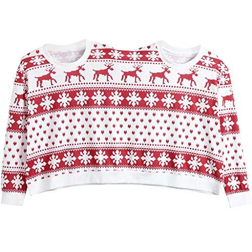 (SEWORLD Weihnachten Vintage Christmas Zwei Personen Pullover Unisex Paare Pullover Neuheit Weihnachten Bluse Top Pullover Oberteile Sweatshirt(W-rot,EU-40/CN-XL))