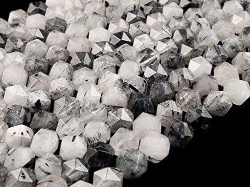 Beads ok, diy, quarzo rutilato nero, genuine, naturale, 8mm, pietre perlina di gemma semi preziose, esagono sfaccettato, circa 40cm un filo. (black rutilated quartz, faceted hexagon bead)