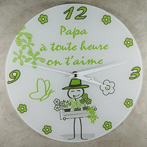Horloge - PAPA - à toute heure on t'aime - Cadeau pour la fête des Pères, Noël, Anniversaire, Naissance.