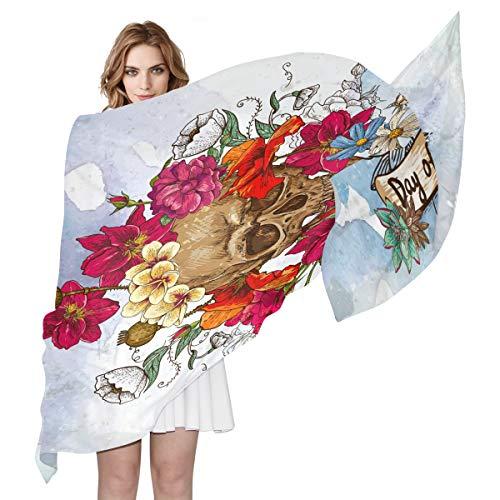 BIGJOKE Damen Schal aus Seide, mit Totenkopf-Blumenmuster, leicht, lang, weich, Chiffon, Schal zum Wickeln, als Schalldämpfer für Damen Mädchen und Herren