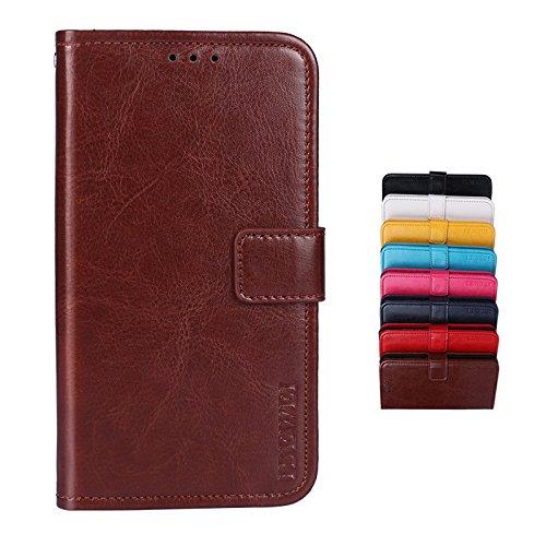 SHIEID® Wiko Sunny 3 Hülle Brieftasche Handyhülle Tasche Leder Flip Case Brieftasche Etui Schutzhülle für Wiko Sunny 3 mit Stand Funktion EIN Stent-Funktion (Braun)