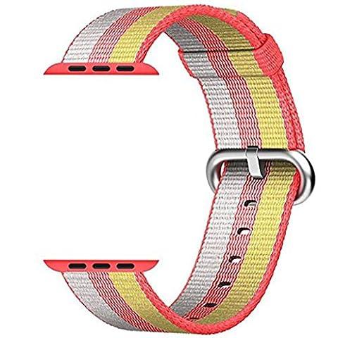 CICIYONER 1 PC Release Sport Royal Woven Nylon Armband Strap Band für Apple Watch 42mm, 6 Farben zu wählen (Rot, Apple Watch 42mm)