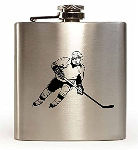 Laser Engraved 6oz Stainless Steel Hip Flask With Ice Hockey