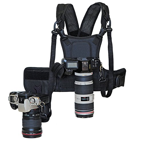 Nicama Multifunktionsweste Doppel Kamera Weste Dual Tragend Fotograf Top Chest Harness Carrier Brustgeschirr Vest Universale Trageweste Halterung Fotoweste, Für 2 Kameras Canon Nikon Sony DSLR Cameras -