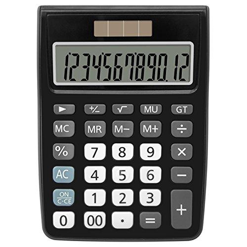 Helect Taschenrechner Standard-Taschenrechner Tischrechner 12-stelliger Zwei Wege Stromversorgung