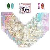 YOTINO 24 Pezzi Unghie Vinili, Set d'Unghie Stampino Adesivo Fogli per Nail Art Design Unghie, Unghie Stickers Decorazioni per Donna e Ragazza