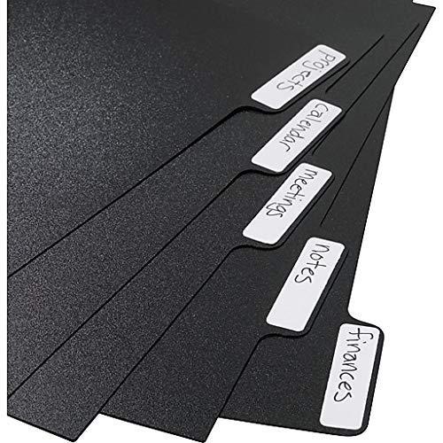 Arc Anpassbare Notebook System Trennwände 27,9x 22,9cm schwarz mit 20Etiketten - Tab Teiler Weiß 5