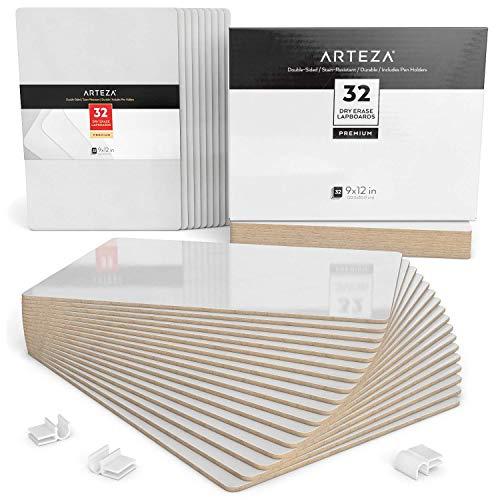 ARTEZA Schreibtafel | 23cm x 30cm Doppelseitiges Whiteboard | Set mit 32 Stück | Weiße Trocken Abwischbare Tafel | Ideal für Lehrer, Schüler, Unterricht, Präsentationen, Büroarbeit