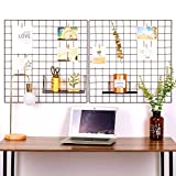 Oucles Raster-Foto-Wand-Set von 2, Gitter Wand Metalldraht Display dekorative nordische Regale Mesh Ins Art Display Fotowand, 23,6 x 23,6 Zoll (schwarz)