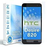 EAZY CASE 3X Panzerglas Bildschirmschutz 9H Härte für HTC Desire 820, nur 0,3 mm dick I Schutzglas aus gehärteter 2,5D Panzerglasfolie, Bildschirmschutzglas, Transparent/Kristallklar