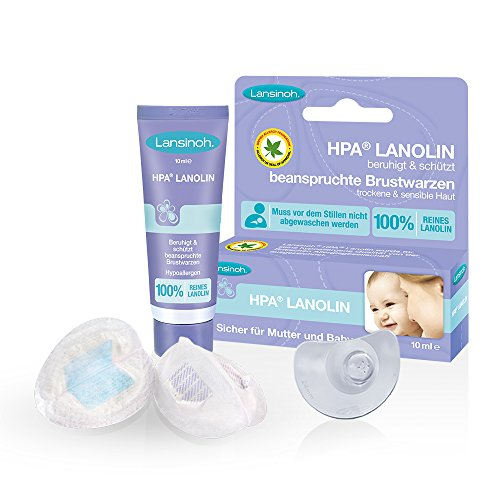 Lansinoh Still-Hilfsmittel-Set // Stillhütchen 2 Stk. inkl. Transportbox & Lansinoh HPA Lanolin 10ml 1 Pack