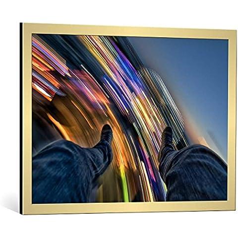 """Quadro con cornice: FrankBa """"Full Throttle : Chapter 2"""" - stampa artistica decorativa, cornice di alta qualità, 85x60 cm, Oro spazzolato"""