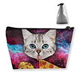 Lustige Katze sternenklare Pizza Essen wunderschöne Bequeme Stift Schreibwaren Federmäppchen Kosmetik Make-up Tasche