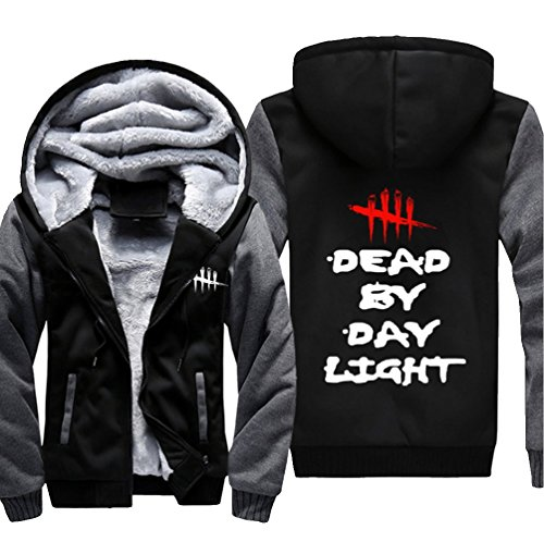 (Herren Sweatshirt Dead by Day Pullover Reißverschluss Kapuzenpullover Cosplay Kostüm FlaumJacke (Dunkel Grau, XX-Large))