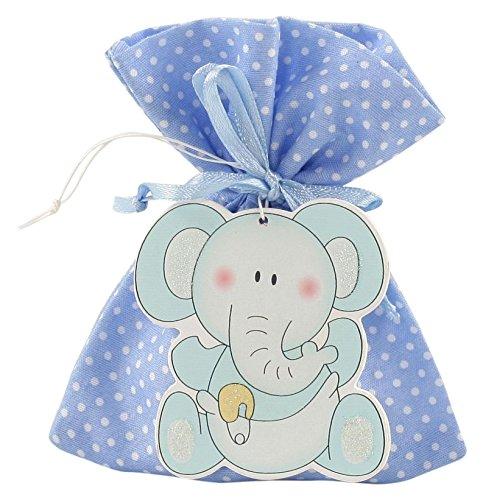 Mopec WP137,03-Sacco con 5 e prodotti con ciondolo a forma di elefante, colore: blu, confezione da 40 pezzi
