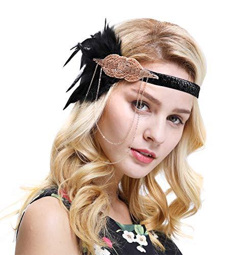 FAIRY COUPLE 1920er Retro Kopfstück Flapper Ketten Blumen Haarband Great Gatsby Haar Zubehör(Schwarz Champagner) (Champagner Kopfstück Braut)