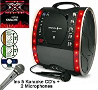 X Factor Karaoke CD Version - Portable Karaoke Machine & CD Player - Classic 343 PARTY PACK 2 - Home Disco Party Light �?? Girls / Boys Karaoke microphone + 86 Karaoke SONGS (5 CD ' S) CDG + Format (Connect to a TV to display lyrics from CD) - Echo - Auto