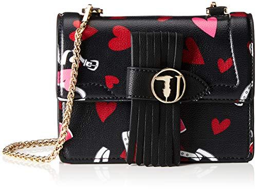 Trussardi Jeans 75B00518-9Y099998, Borsa a Tracolla Donna, Nero (Black Heart Print), 20.5x16x9 cm (W x H x L)