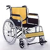 ChuanHan Behindertenrollstuhl, Rollstuhlgeklappter Leichtgewichtsrollstuhl, Abnehmbar, Schwämme, Verstellbares Pedal, Leichter Aluminium-Klapprollstuhl, Für Senioren Geeignet,Gelb,A