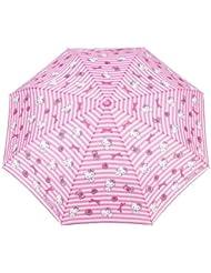 Parapluie pliant et compact + étui à anses rayé -10112- fille charmmy kitty rose