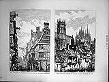 Copie Antique de Couvent Augustin Erfurth 1872 de Catastrophe de Judengasse Frankfort