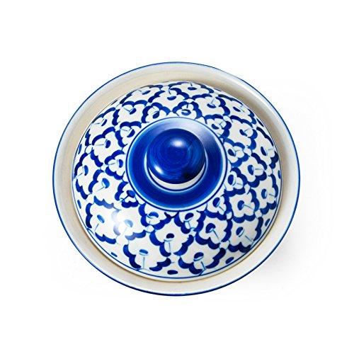 Blue&White tableware Thai Schale mit Deckel und blau weißem Blumen Motiv