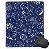 Aliens Moon Saturn Venus Spaceships Quality Comfortable Game Base Mouse Pad with Stitched Edges Size 11.81 * 9.84 Inch