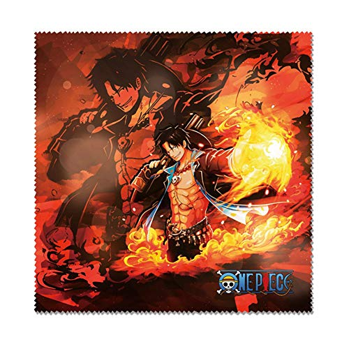 Saicowordist One Piece Anime Zeichentrickfiguren HD Printing Cotton Brillenputztuch Super Soft Superfine Fiber Reinigungstuch für Brillen TV Bildschirm(Ace-4)