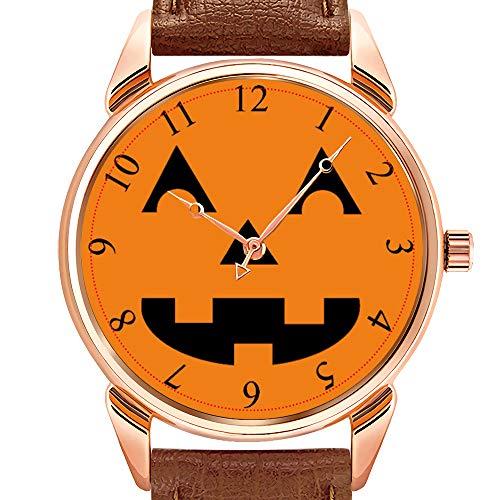 rzuhr Business wasserdicht leuchtende Uhr Herren braun Leder Uhr Halloween Jack O Lantern Pumpkin Face Armbanduhr ()
