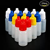 Meown® 100PCS Flaconi Contagocce Plastica Vuoto Comprimibile Occhio Liquido Bottiglie per il dosaggio di liquidi 10ml - bianco, rosso, blu, giallo