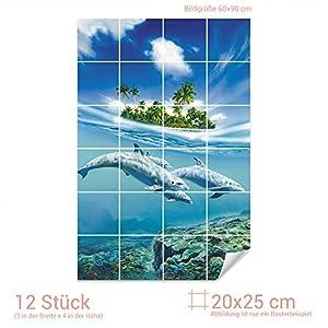 Graz Design 761085_20x25_60 Fliesenaufkleber Fliesenbild Unterwasserblick mit Delfinen   Wand-Deko für Bad/Küchen-Fliesen (Fliesenmaß: 20x25cm (BxH)//Bild: 60x90cm (BxH))