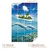 Graz Design 761085_20x25_60 Fliesenaufkleber Fliesenbild Unterwasserblick mit Delfinen | Wand-Deko für Bad/Küchen-Fliesen (Fliesenmaß: 20x25cm (BxH)//Bild: 60x90cm (BxH))