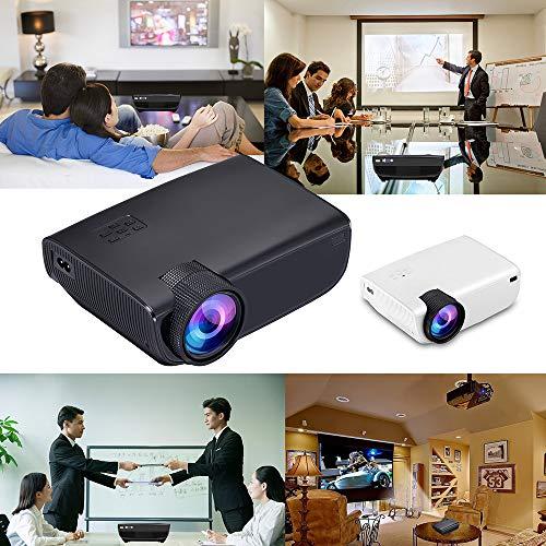 Qmber Video-Beamer Projektoren Europäische Vorschriften für W50-Projektoren Heimkino Multimedia-LED-Projektor HD 1080P AV-Fernseher VGA USB HDMI (201x153x67.5 mm, Weiß) Digital Projector Ceiling Mount