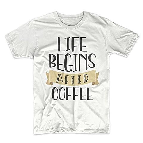 Life Begins After Coffee Komisch Cool Espresso Latte Cappuccino Herren T-Shirt Weiß XX-Large
